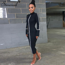 Simenual Casual Bodycon Women Long Dress Fashion Full Sleeve Striped Patchwork  Dresses Turtleneck Ladies Skinny