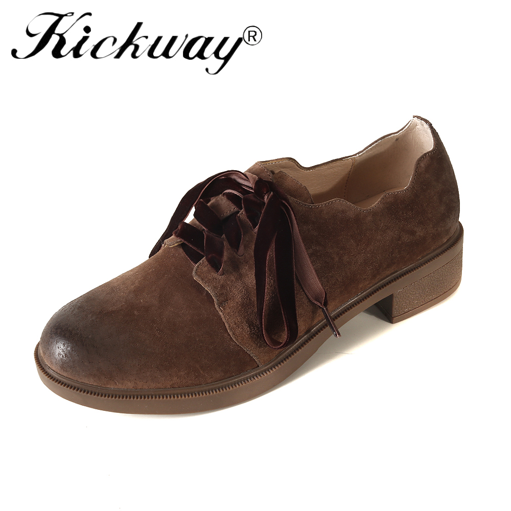 Kickway Retro Brogue Genuine Cow Suede Woman Oxford Shoes British Style Black Brown Flat Shoes Casual Oxford Shoes for Women e lov women casual walking shoes graffiti aries horoscope canvas shoe low top flat oxford shoes for couples lovers