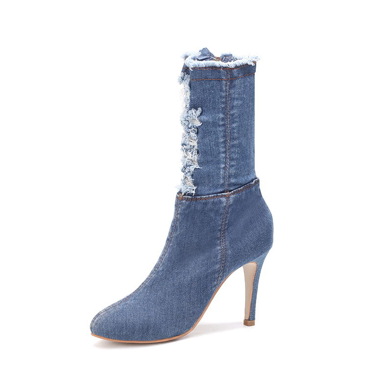 da408a97da8 US $16.66 40% OFF|BENZELOR Autumn Winter Denim Jeans Women Shoes Woman  Boots Mid calf Pointed Toe Fashion Thin High Heels Ladies ripped  distressed-in ...