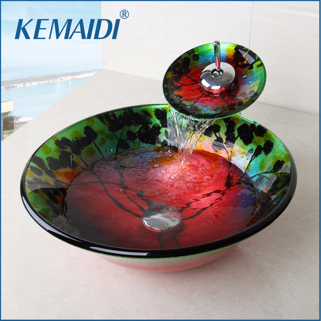 KEMAIDI Bathroom Sink Tempered Glass Vessel Jungle round Sink With Waterfall Faucet Wash Basin Set With Pop Up Drain