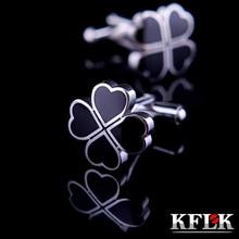 hot deal buy kflk jewelry hot shirt cufflinks for mens gift brand cuff buttons clover cuff links black high quality abotoaduras free shipping