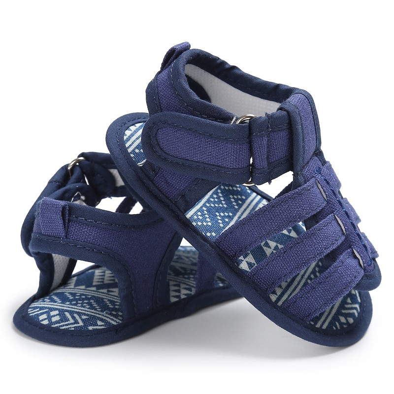 Summer Casual Sandals Shoes Baby Boys Soft Canvas Sandals Baby Toe Cap Covering Clogs Flat with Baby Shoes