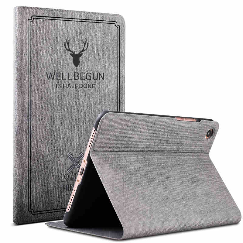 xiaomi4 mi pad 4 Protective Sheath 8 inch Tablet PC Leather case Ultra thin Fall proof Intelligent Flip Shell pure colour gray