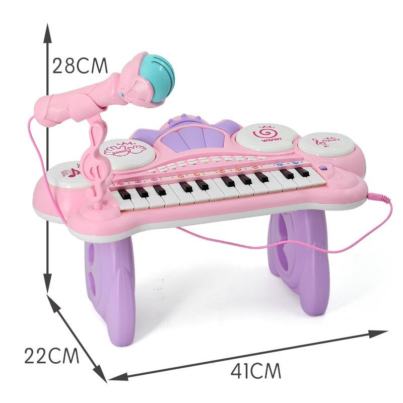 Juguetes instrumento Musical Mini micrófono Piano iluminación efectos de sonido reproducción Multimedia 1-6 años educación del bebé Pianoforte - 5