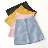 2016 Autumn Winter New High Waist PU Faux Leather Women Skirt Pink Yellow Black Blue Zipper