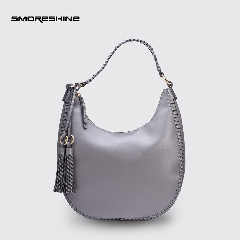 SMORESHINE High quality PU leather women shoulder bags Female tassel design hobos handbags women's weave handle Crossbody bag