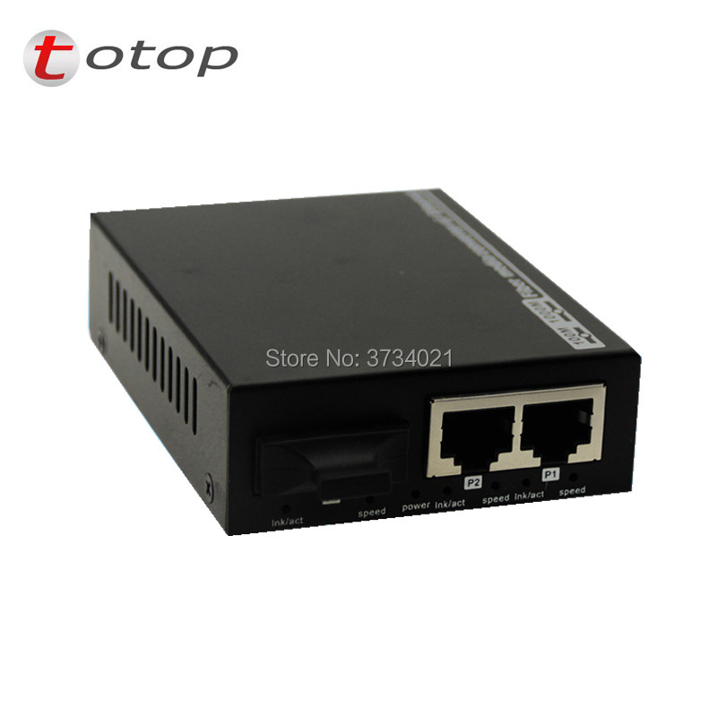 Fiber Media Converter 10/100M 1 Fiber 2 RJ45 Ports, Multimode Dual Fiber 1310nm SC 2KM  External Power Supply