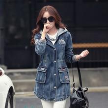 New Women's Hooded Denim Trench Coats Plus Size Jeans Coats Ladies Long Trench Overcoat D612