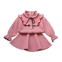 Baby Girls Children Sets Ruffles Cardigan Sweater+ Skirt Spring & Autumn Kids Lace Bow Knitted Clothing Suits 2 Pieces Outfits