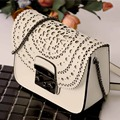 Women Leather Handbags Graffiti Chain Messenger Packet Geometric Hollow Out Mini One Shoulder Buckle Small Square Package Gift