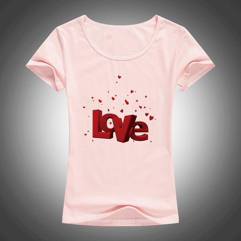 Sommer Neue Frauen T Shirts Valentinstag Liebesbrief Gedruckt T - Damenbekleidung - Foto 3