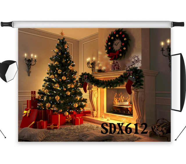 Polyester Vinyl Christmas Tree Warm Night Gifts Fireplace Mistletoe Ring Candles Photography Photo Background Studio