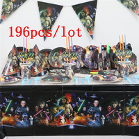 196pcs/lot Star Wars Theme Family Party Wedding Gift Bag Birthday Party Disposable Paper Tableware Cup Plate Napkin Flags Supply