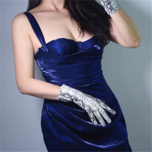 Women Fashion  Gloves 28cm Patent Leather Medium length Simulation PU Bright Skin Python Pattern 3-TB82