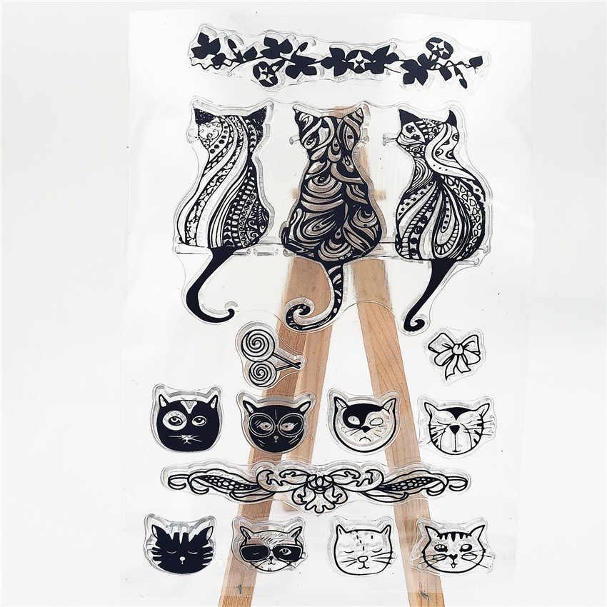 Panfelou 11*16 Cm Kucing Indah Transparan Silikon Karet Bening Perangko Kartun untuk Scrapbooking/DIY Natal Pernikahan Album