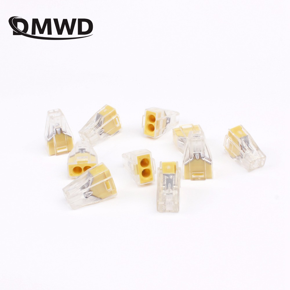Free shipping 10pcs PCT-102 Push wire wiring connector For Junction box 2 pin conductor terminal block wire connector empty 2 5 6 flat wire connector hard wire junction box terminals renovated our current air conditioning connector