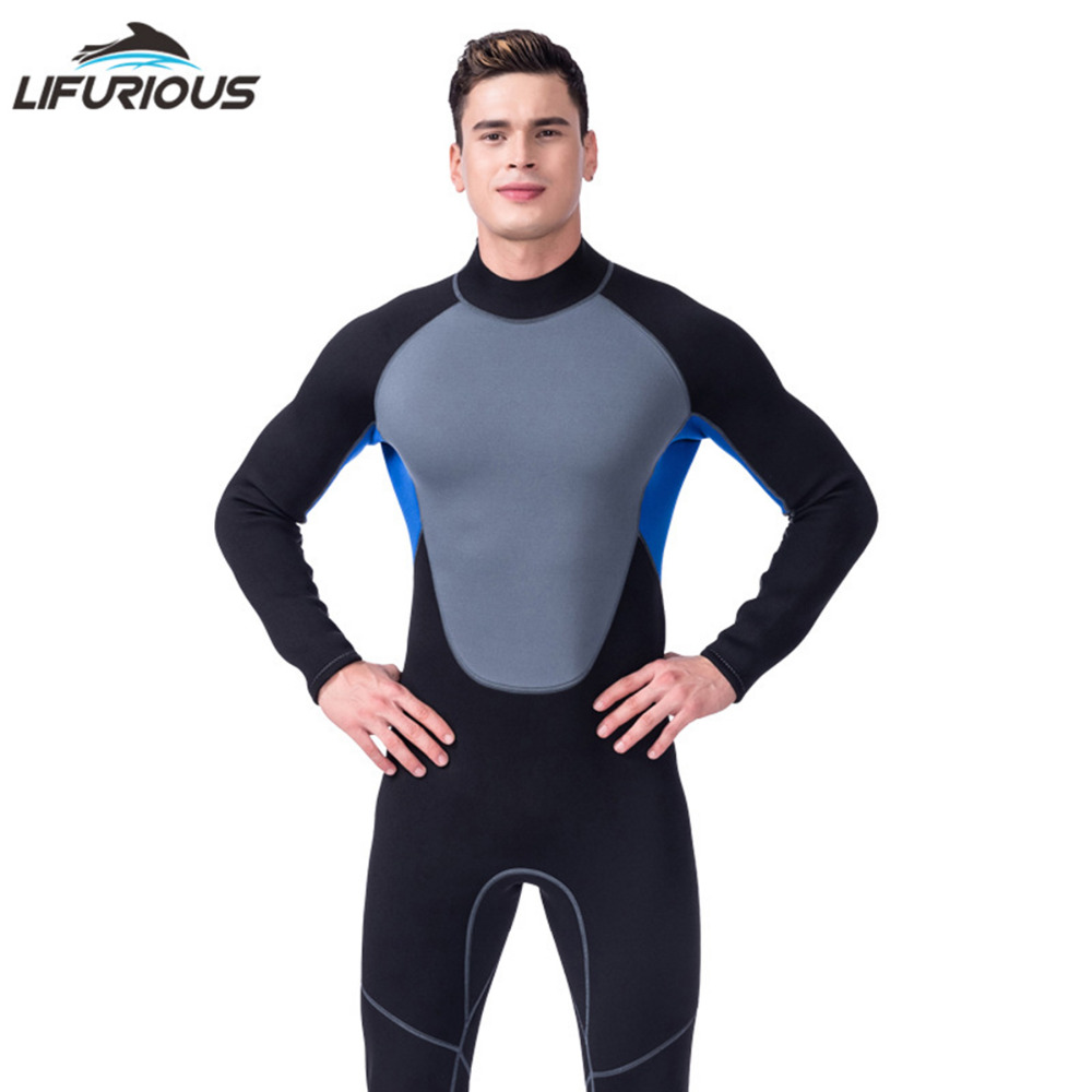 LIFURIOUS Neoprene diving equipment diving wetsuits for men and sail wetsuits full body Black+blue+gray patchwork wetsuit Newest