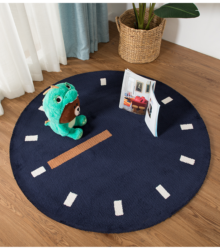 Style nordique enfants décoration Ins tapis rond chevet vestiaire avec épais dessin animé créatif horloge tapis enfants jouer tapis