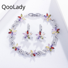QooLady Korean Multicolor Marquise Cubic Zirconia Lovely Flower Charm Bracelet Earring Fashion Jewelry Set for Women Party Z009