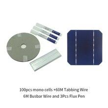 DIY Panel Solar 280W 100 Uds celda Solar Monocrystall 5x5 con cable de tabulación de 60M 6 M, cable de barra colectora y 3 uds Lápiz de soldadura