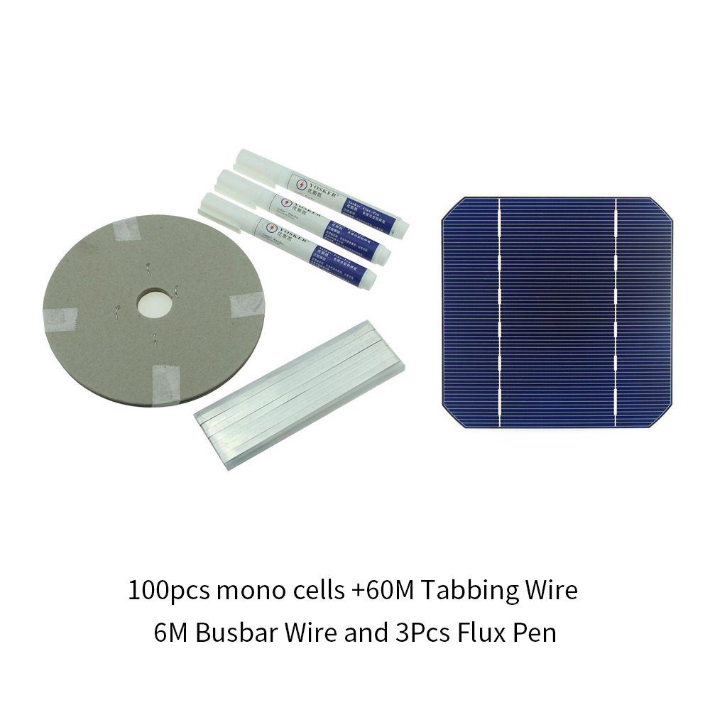 DIY Solar Panel 270W 100Pcs Monocrystall Solar Cell 5x5 With 60M Tabbing Wire 6M Busbar Wire and 3Pcs Flux Pen