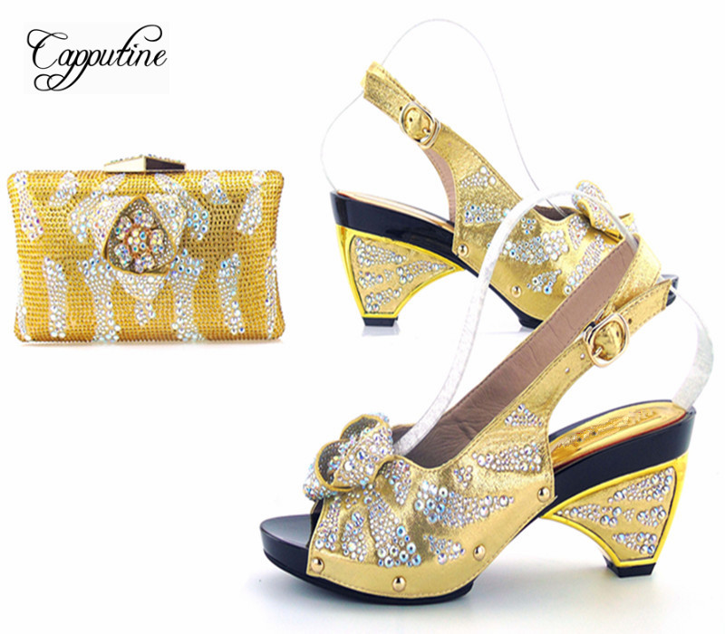 Capputine High Quality PU Leather And Rhinestone Shoes And Bag Set Italian Elegant Fashion Shoes With Matching Bag For Party capputine new arrival fashion shoes and bag set high quality italian style woman high heels shoes and bags set for wedding party