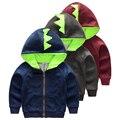 Primavera ropa de abrigo niño masculino niño superior de manga larga con cremallera pequeña rebeca del bebé del otoño ropa para niños sudaderas dinosaurio