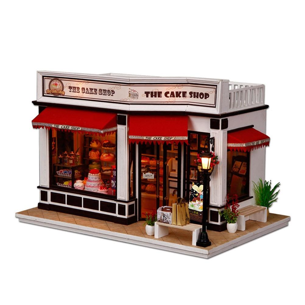 Diy 하우스 키트 수제 모델 목조 주택 교육 장난감 케이크 숍 모델 아이들을위한 가구 장난감 선물-에서인형 집부터 완구 & 취미 의  그룹 1