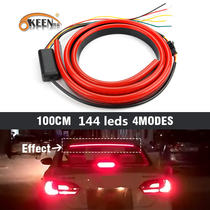 Us 15 99 40 Off Okeen Red Flowing Flashing Car Third Brake Light Led Light Strip Rear Tail High Mount Stop Lamp 12v Signal Safety Warning Light In