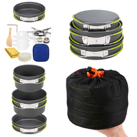 2 3 People Lightweight Aluminum Outdoor Stove Outdoor Cookware Set Pot Pan Plastic Bowel for Backpacking Camping Picnic|Outdoor Tablewares|   -