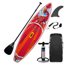 Triclicks 350x76x15CM 10FT SUP Inflatable Stand Up Surfing Board Soft Surf Paddle Board with Bag style aqua marina 330 97 15cm drfit inflatable sup board stand up paddle board fishing sup board surfing board with incubator