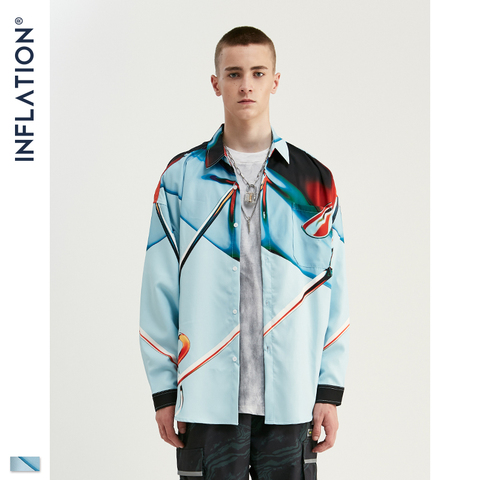 INFLATION Streetwear Men Shirt Long Sleeve Streetwear Shirts Loose Shirts 2019 Autumn New Digital Printing Men Shirts 92150W Lahore