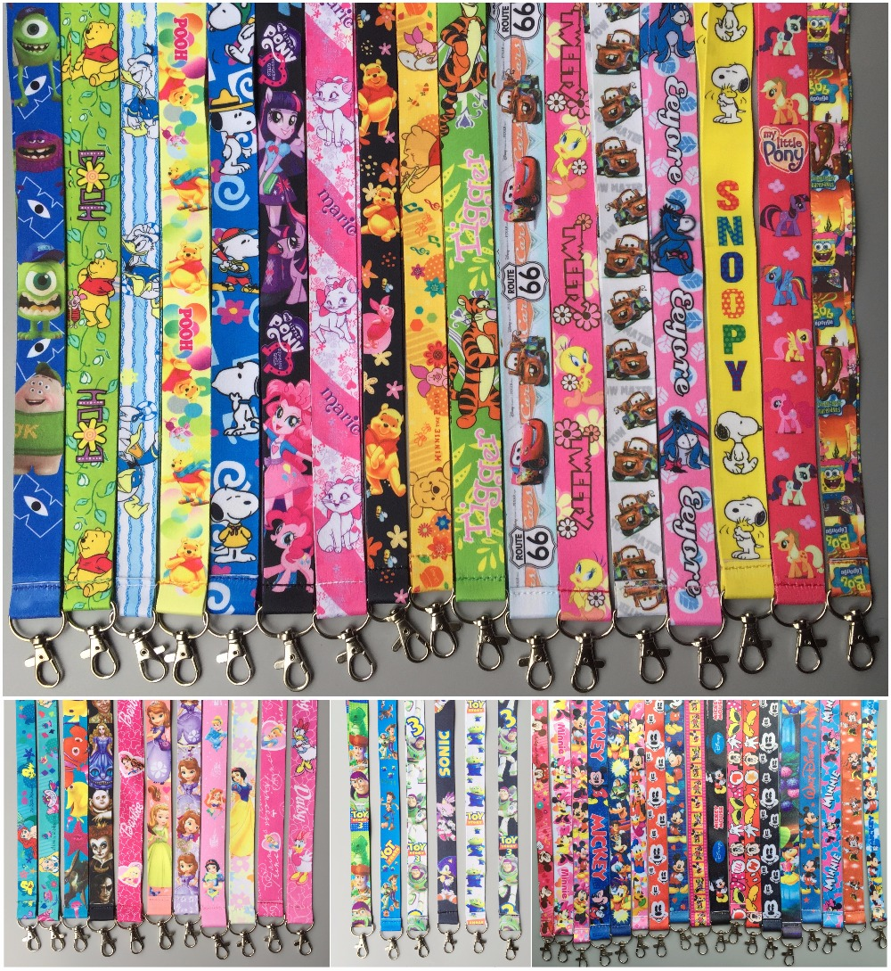 Lot 100Pcs Japanese Anime Cartoon Color Mixed Neck Straps Lanyards Mobile Phone,ID Card,Key Chain Kids Party Gifts Mm-03