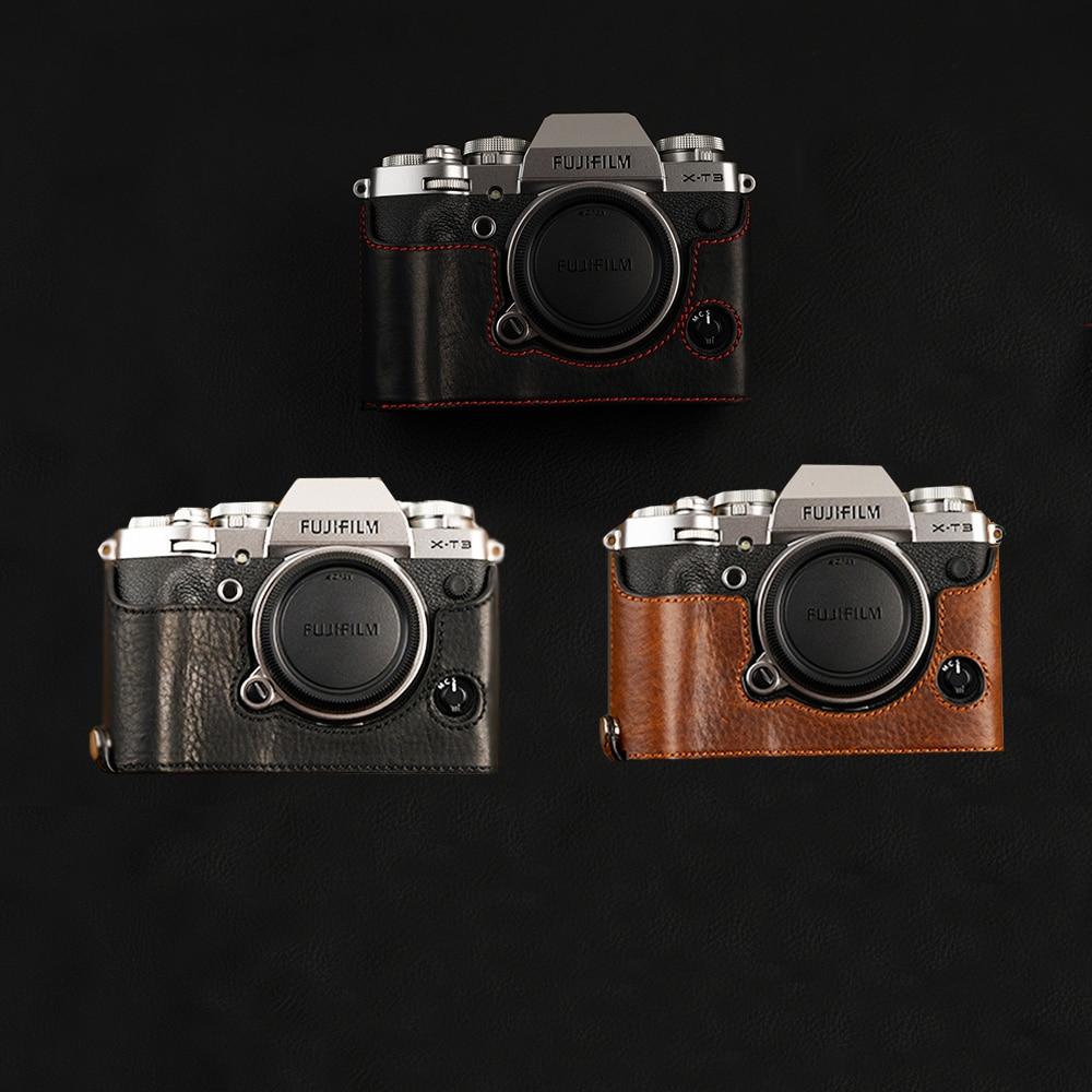 VR Brand Genuine Leather Camera case Half Bag Bodysuit For Fujifilm XT3 XT3 Fuji X T3 Handmade Camera Bag-in Camera/Video Bags from Consumer ...