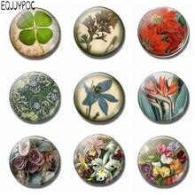 1pcs Flower Fridge Magnets 30 MM Glass Gem Magnetic Stickers for Refrigerator Home Decor Gardeners Gift