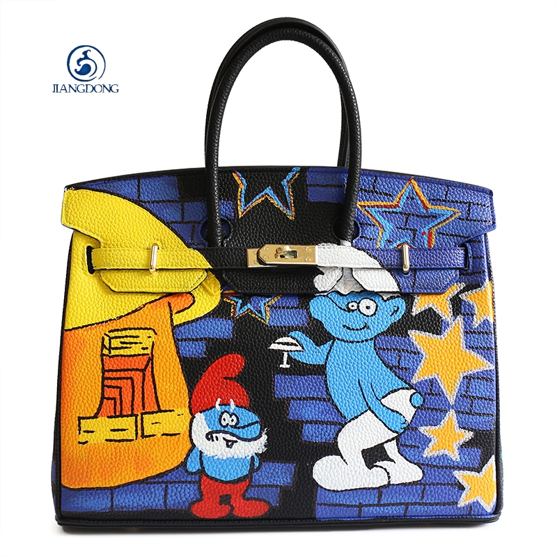 2017 JIANGDONG Custom Graffiti Handbag Luxury Handbags Women Bags Pu Leather Designer Cartoon Tote Bag Gold Lock Crossbody Bag штора жаккард bordo 145х270 см p608 7215 1