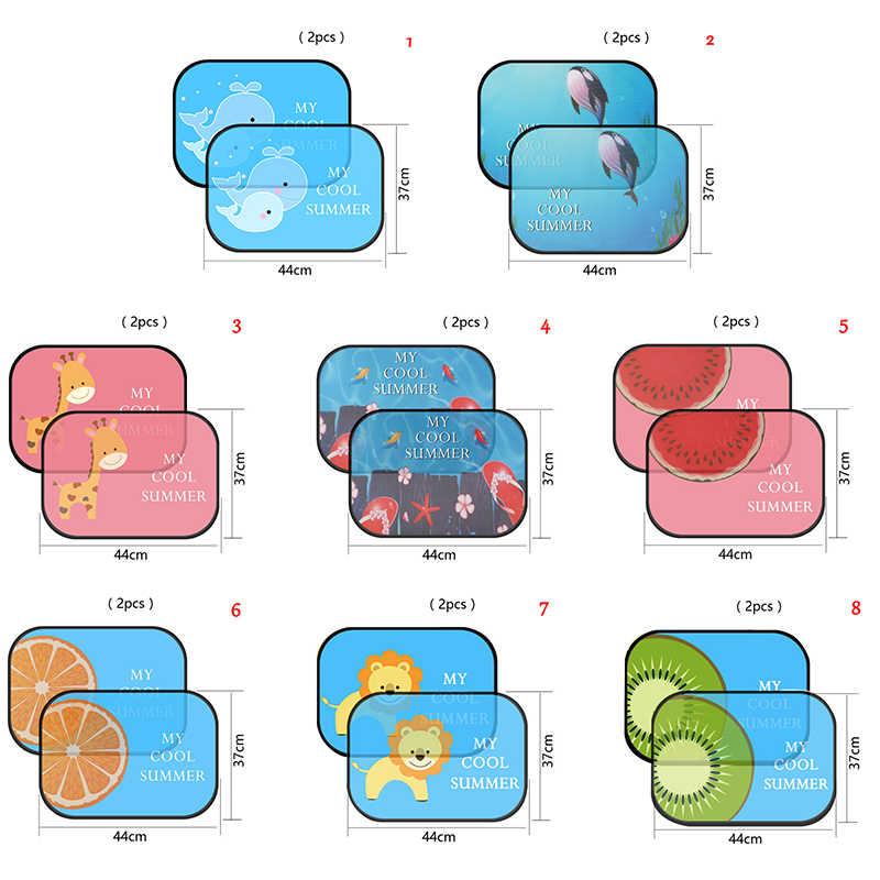 2 pièces 8 styles Anti universel fenêtre de voiture bébé soleil nuances mignon dessin animé voiture style rideau