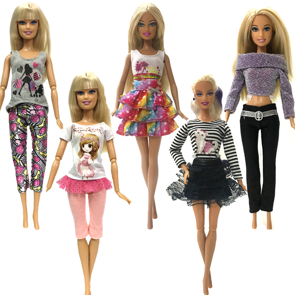 NK 5 Pcs Handmade Fashion Clothes For Barbie Doll Dress Baby Girl Birthday New Year Present For Kids DZ