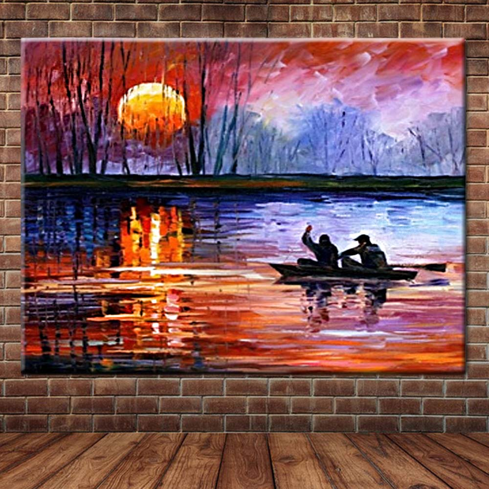 Hand Painted Abstract Art Sunset <font><b>Boat</b></font> Landscape Canvas Palette <font><b>Knife</b></font> Oil Painting Wall Picture Living Room Home Wall Decoration image