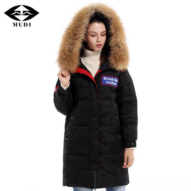 MUDI Womens Down Coat Top Quality 90% White Duck Down Jacket with Fur Hood Long Winter Jacket Super Thick Warm Parkas Overcoat