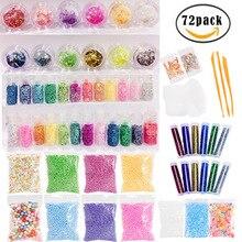 72/73 Pack DIY Handmade Color Foam Ball Material Set Making Kits Supplies For Slime Stuff Charm Fishbowl Beads Glitter Pearls