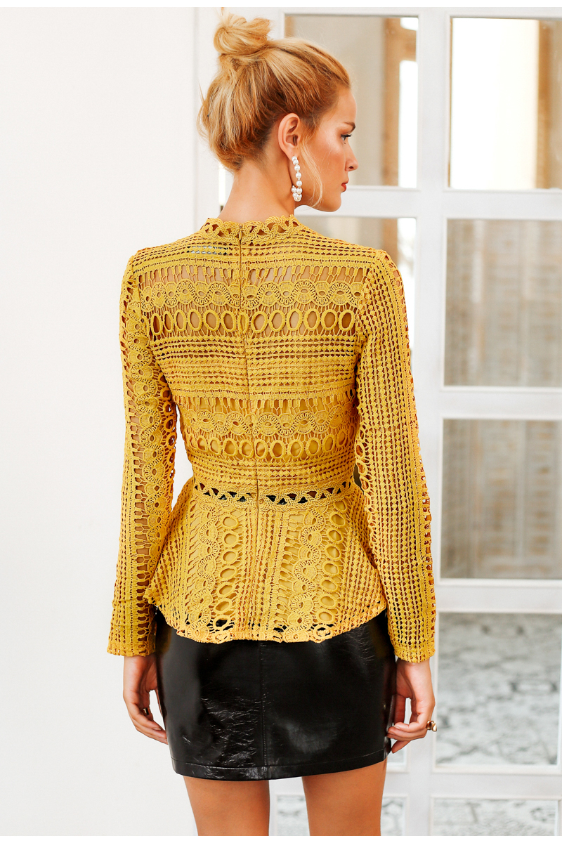 Elegant Lace Hollow Out Peplum Ruffles Long Sleeve Yellow Blouse Shirt