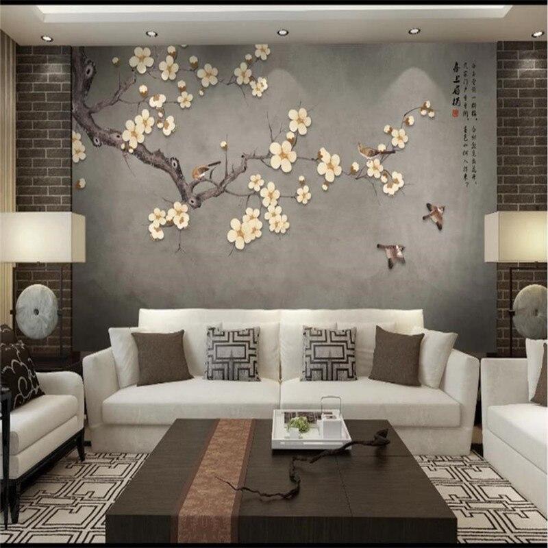 Personalizado grande papel de parede TV fundo da parede de flores e pássaros pintados à mão-de plum oi Meitou mural material à prova d' água