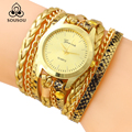 SOUSOU Brand Fashion Casual Women Gold Wristwatch  Luxury Chain Bracelet Watches Female Clock Quartz Watch relogio feminino