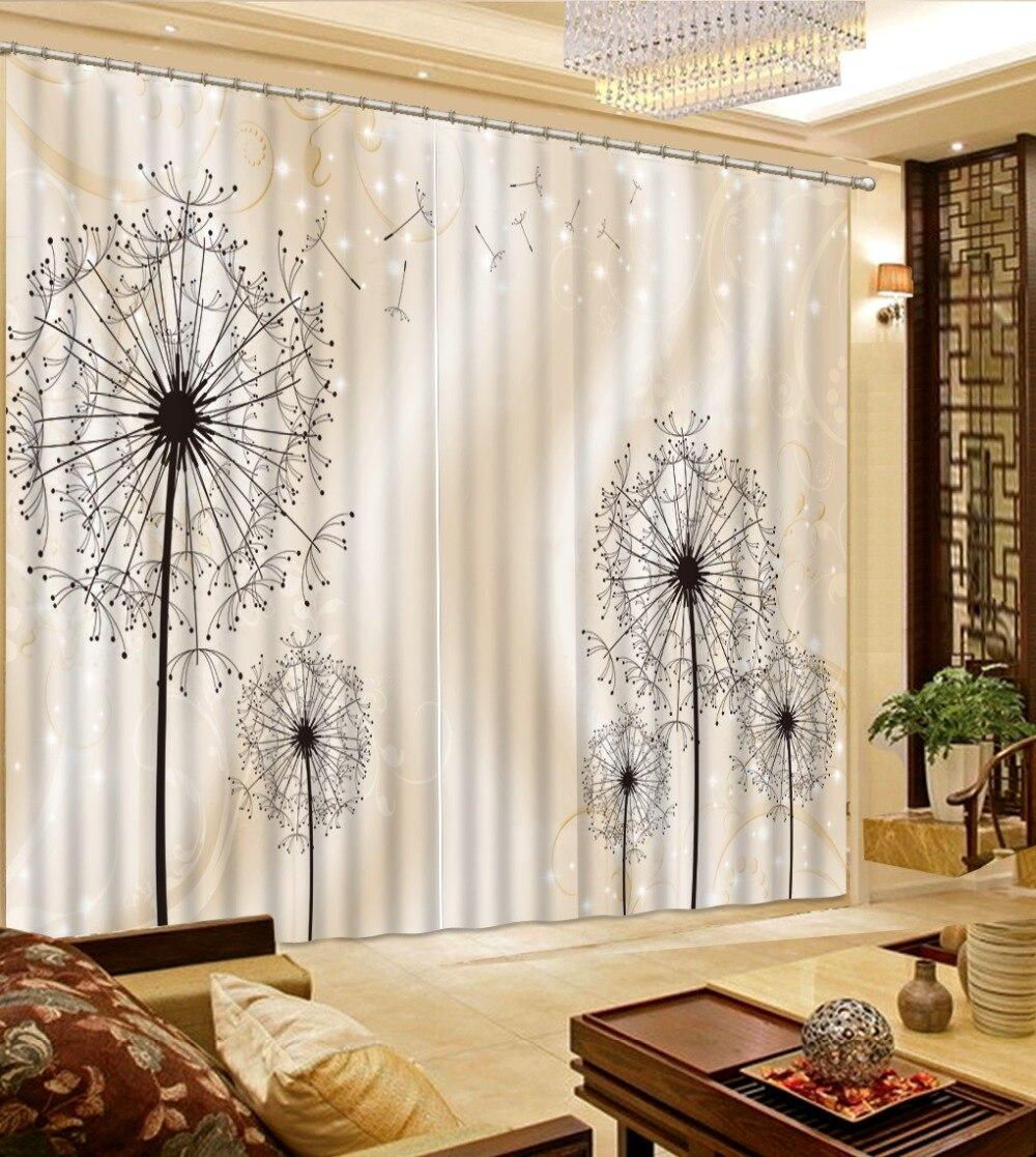 Haute qualité personnaliser 3D rideau impression Blockout pissenlit pour chambre et salon rideaux de fenêtre
