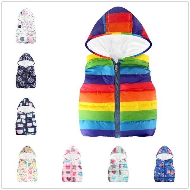 Rainbow Listrado Coletes À Prova de Colete Roupas de Bebê Menina das Crianças Casaco Menino Casaco Sem Mangas Tanque Top Hoodies Crianças Fleece Roupa 2-7Y