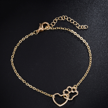 Gift For Her-Cute Cat Paw Print Silver Gold Color Charm Bracelets 5