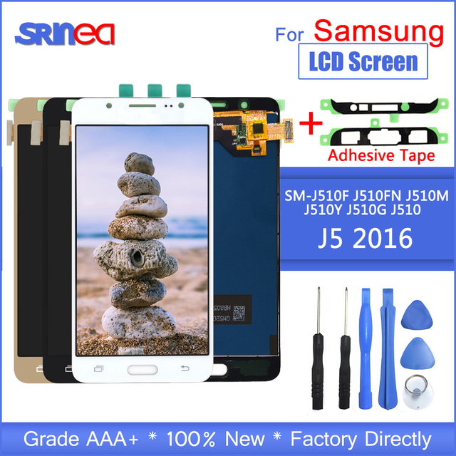 For Samsung Galaxy J5 2016 Display J510 LCD SM J510F J510FN LCD Display And Touch Screen Digitizer Assembly With Adhesive Tools