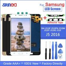 لسامسونج غالاكسي J5 2016 عرض J510 LCD SM J510F J510FN شاشة الكريستال السائل و مجموعة المحولات الرقمية لشاشة تعمل بلمس مع أدوات لاصقة