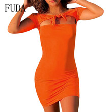 FUDA Orange Front Chest Tie Slim Mini Dress Sexy Hollow Out  Bodycon Bandage Pencil Dress Women Summer Elegant Party Wear tie sleeve button front pencil dress